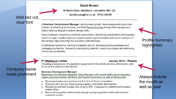 Good CV Example | CV Template | On Target Recruitment